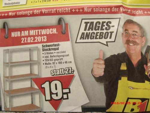 [Bundesweit] Schwerlastregal am Mittwoch (27.02) für 19,-€ @ B1-Discount-Baumarkt