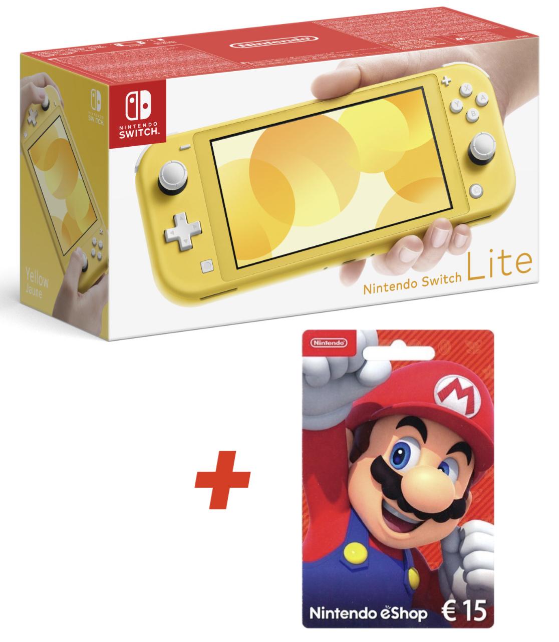 Nintendo Switch Lite Konsole gelb + 15€ Nintendo eShop Card für zusammen 179,70€ inkl. Versandkosten
