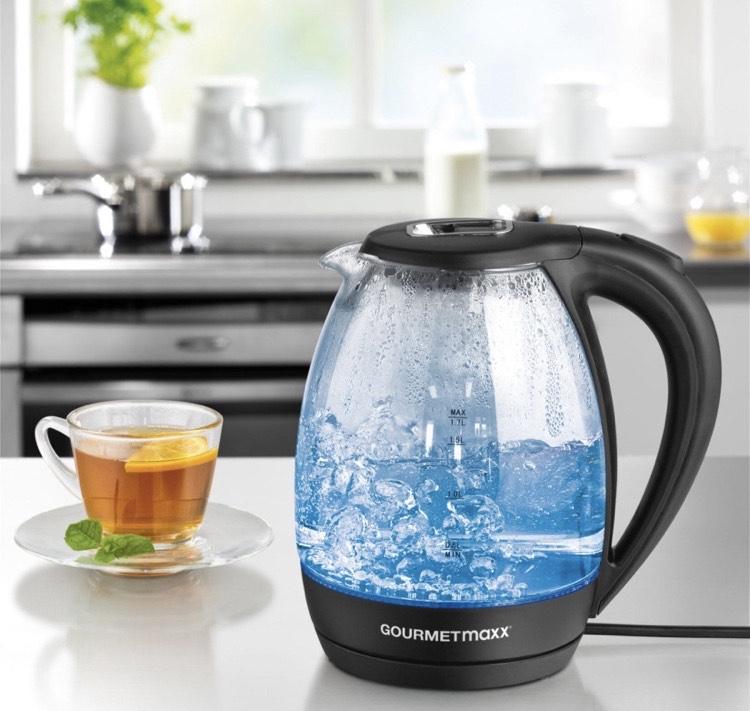 [Netto Marken-Discount / offline im Markt] GOURMETmaxx Glas-Wasserkocher LED-Beleuchtung 1,7l 2200W schwarz