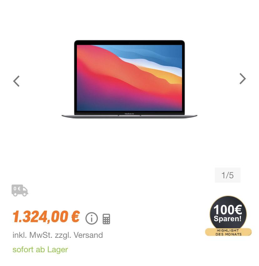 Apple MacBook Air (M1, 2020) 8GB RAM, 512GB SSD