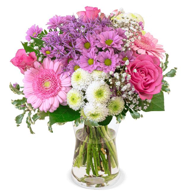 Lieferung am 15.02: Blumenstrauß 1000 Küsse (Rosa Rosen, Santini, Chrysanthemen aufgebunden mit Schnittgrün)