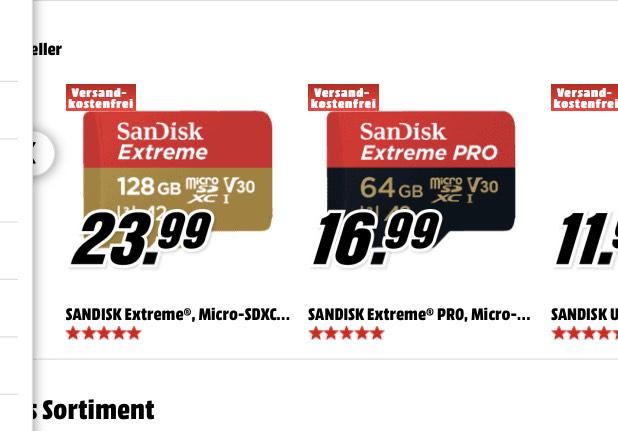 SANDISK Extreme® PRO, Micro-SDXC Speicherkarte, SD-Adapter, 64 GB, 170 MB/s