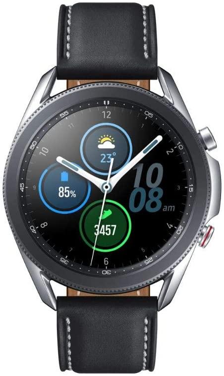 Samsung Galaxy Watch 3 45mm Smartwatch mit LTE & Bluetooth (Edelstahl Echtleder, Größe M/L, Mystic Silver/Black) mit 3 Jahren Garantie