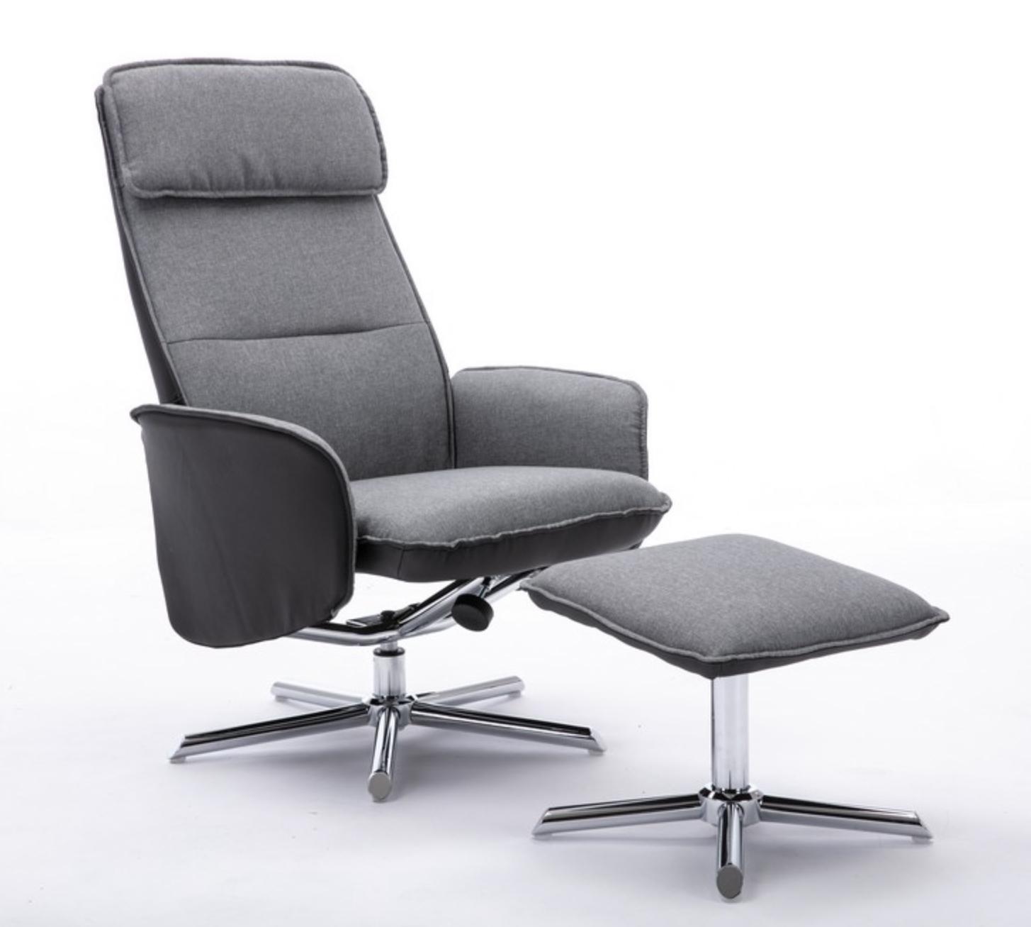 Happy Home Relaxsessel mit Hocker grau für 88,39€ inkl. Versandkosten