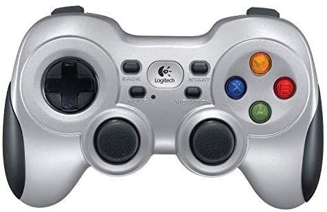 Logitech F710 kabelloses Gamepad, Spiele-Controller mit Konsolenartigem Layout, 4 Tasten D-Pad, Komfortable Griffflächen, PC/Mac, Silber