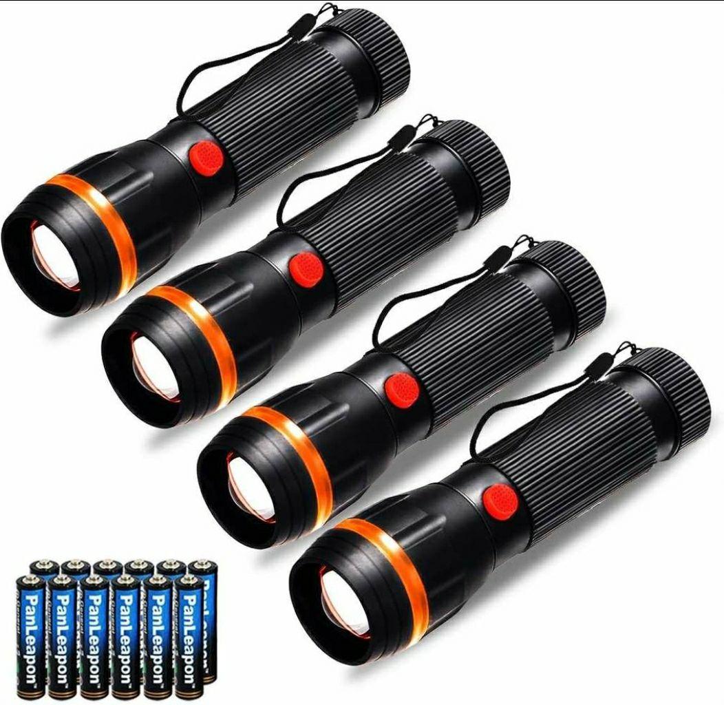 (PRIME)Fulighture Set mit 4 Standard-LED-Taschenlampen Mini-Zoom-Taschenlampen, 2 Modi, 70 Lumen,