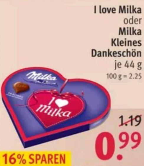 [Rossmann] Milka Herzen Pralinen (mini) für 0.49€ dank marktguru / nur heute