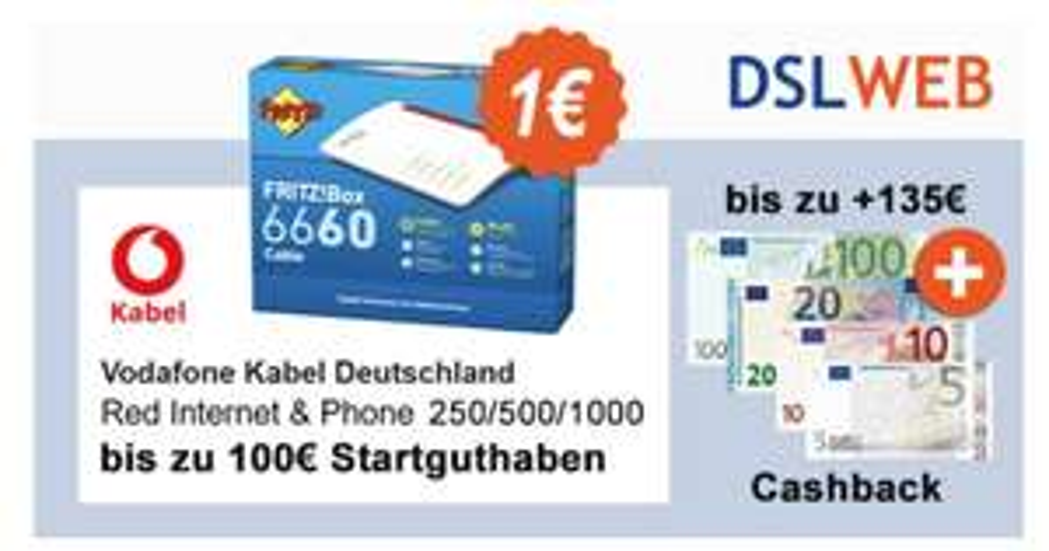 Vodafone Cable Deals, z.B. 250 Mbit/s inkl. Fritz!Box 6660 für 28,12€ mtl. (bei Verkauf 21,87€ mtl.)
