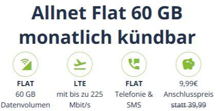 Sim-only, monatlich kündbar: MD Telefonica green 60GB LTE Max 9,99€ einmalig, 24,99€ monatlich