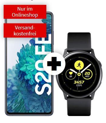 Samsung Galaxy S20 FE + Watch Active im O2 Blue (12GB LTE 50Mbit, Allnet/SMS, VoLTE) mtl. 19,99€ einm. 49€ | Buds Live 29€ | Fit 2 1€