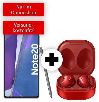 Samsung Galaxy Note 20 und Buds Live (rot/blau) im O2 Blue (18GB LTE 50Mbit, Allnet/SMS, VoLTE) mtl. 24,99€ einm. 49€