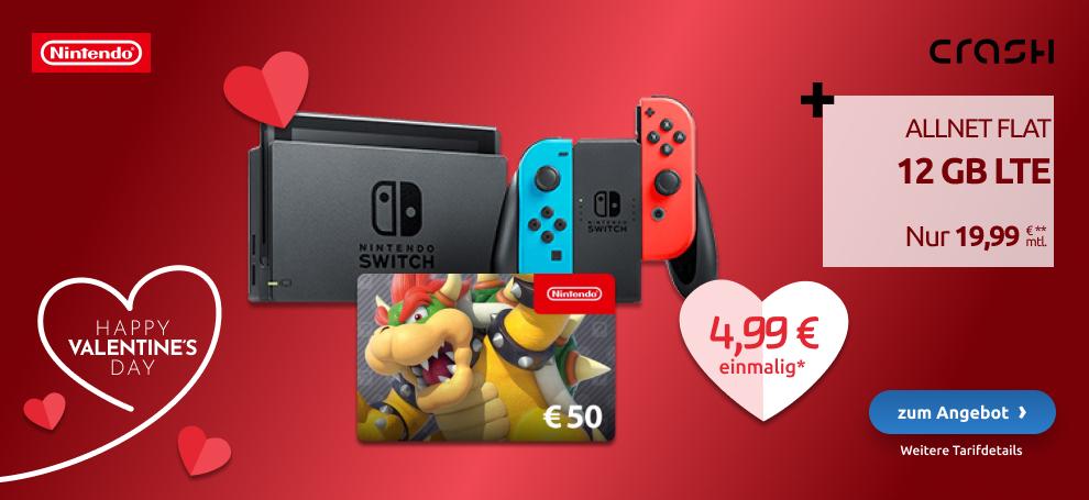 Nintendo Switch Konsole grau + 50 Euro eShop Gutschein im Vodafone Crash Allnet Flat 12GB LTE für 4,99€ einmalig, 19,99€ monatlich, 50€ RNM