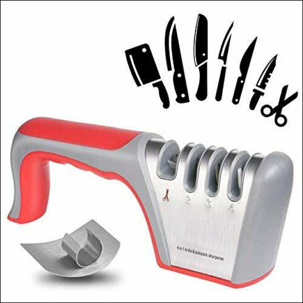 Messerschärfer, 4 in 1 Handmesserschärfer, rutschfeste Basis, für Santoku Messer, Küchenmesser,(inklusive 1 Fingerschutz)