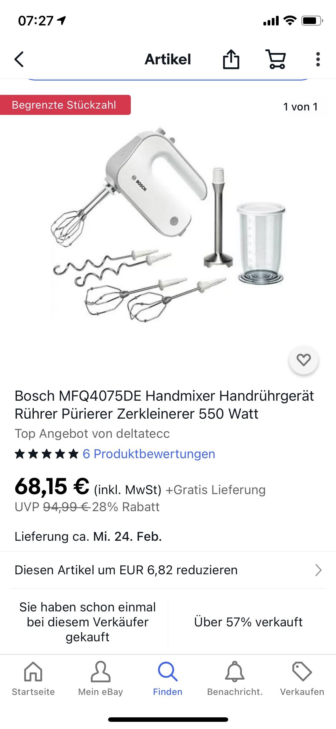 Bosch MFQ4075DE Handmixer Pürierer