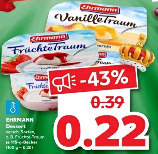Ehrmann Früchte oder Vanille Dessert verschiedene Sorten z.B. Früchte Traum 115g für 0.22€