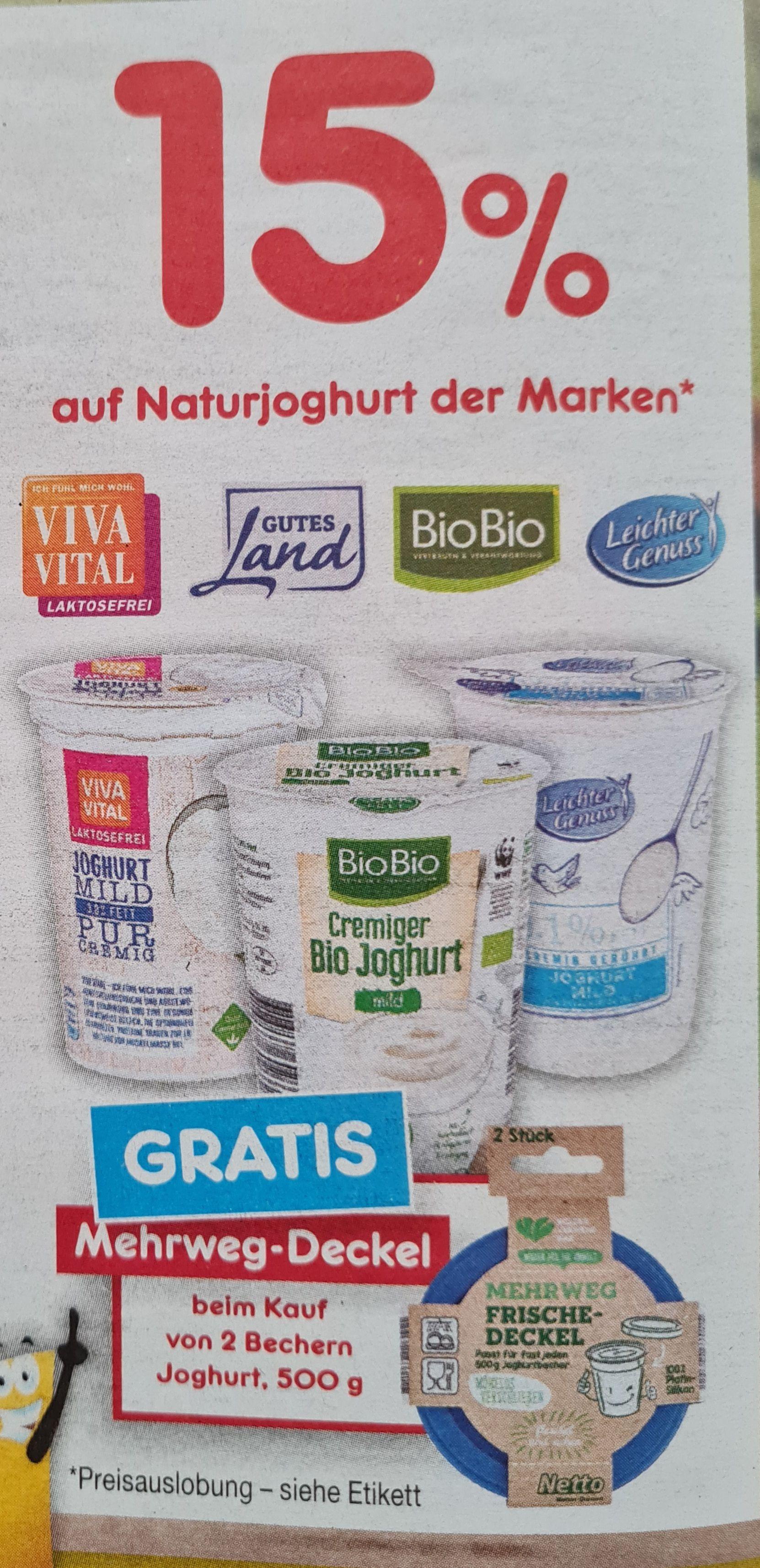 Netto 15% beim Kauf von 2 Becher Joghurt und Gratis 2 Mehrweg-Deckel