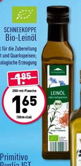 Offline: Bei Aldi-Nord gibt es ab Montag, den 15.02. Bio-Leinöl 250 ml für 1,65 €.