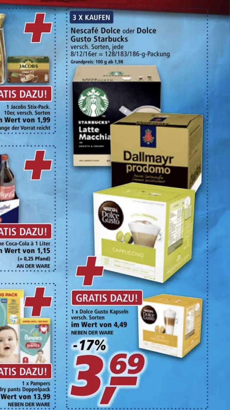 4 Packung Dolce Gusto oder Starbucks zum Preis von 3 / eventuell Tasse und 3x5 Euro Coupon Kombi