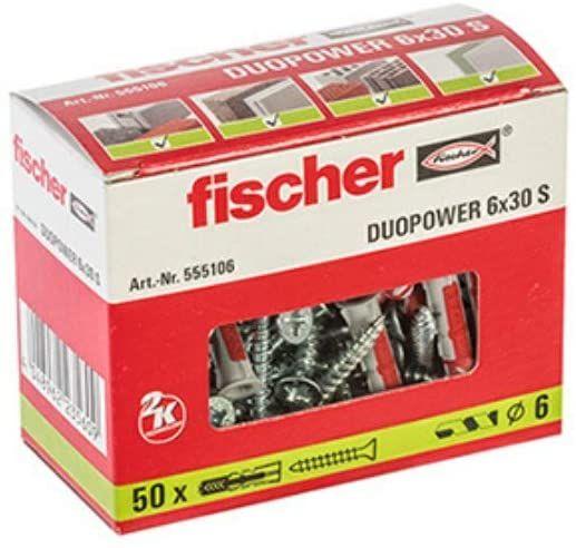 [Amazon Prime] fischer 555106 DUOPOWER 6x30 S, grau/rot, 50 x Dübel + Schraube