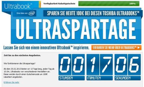 Notebooksbilliger Aktion - 13 Tage lang 100€ sparen auf Ultrabooks