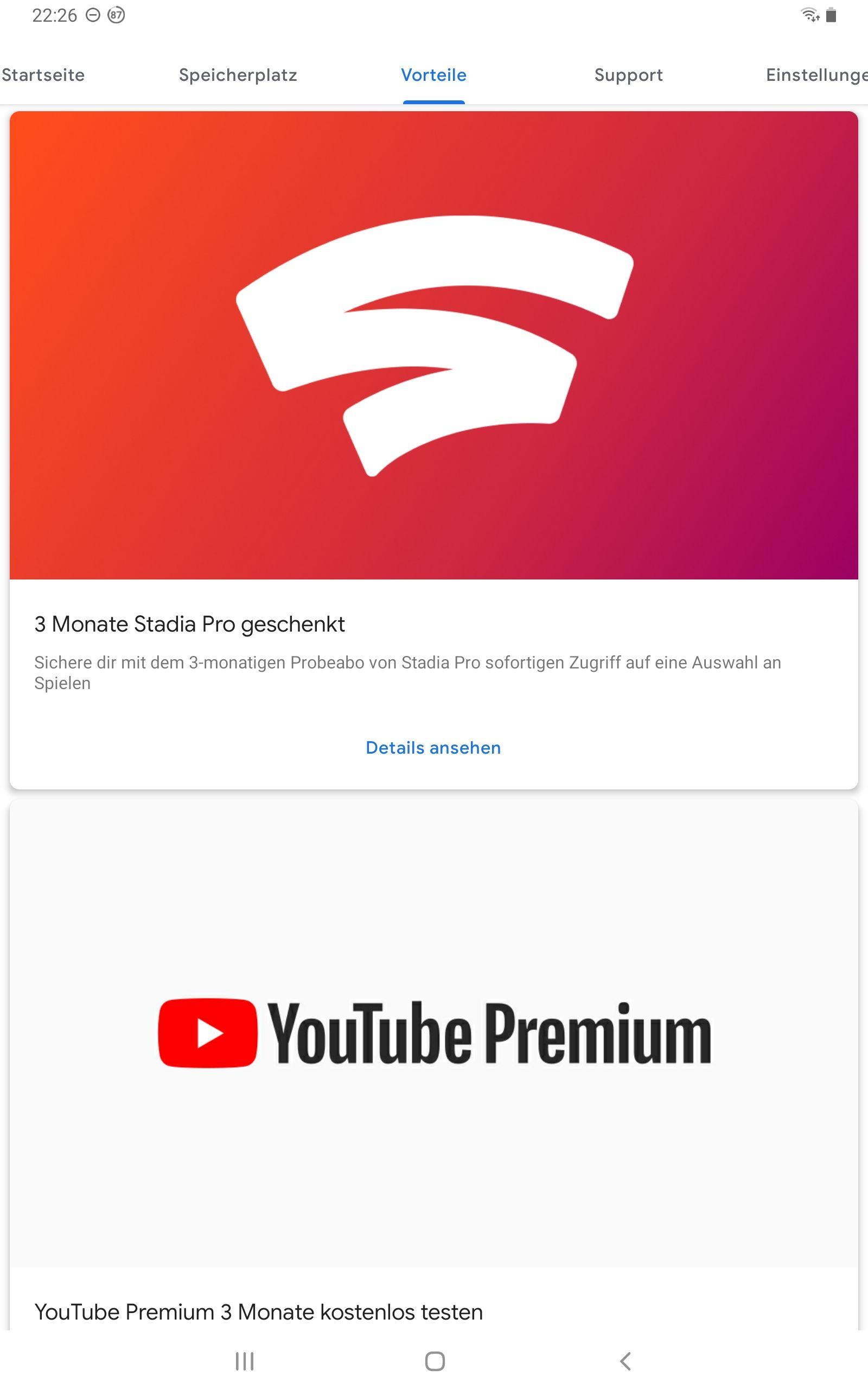 Google Stadia Pro und YouTube Premium 3 Gratismonate für Google One Kunden