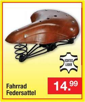 Retro-Fahrradsattel aus Leder (gefedert) für 14,99 Euro [Zimmermann - Filiale* ]