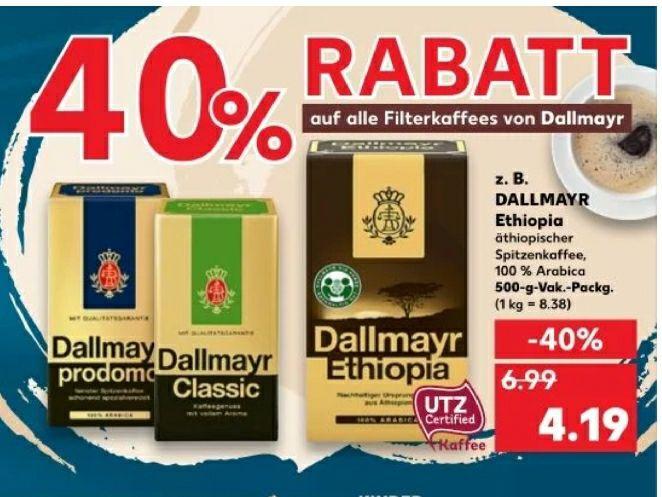 [KAUFLAND] Diverse Rabattaktionen, u.a. 40% auf Dallmayr Filterkaffee, 30% auf Gutfried und 20% auf Seeberger