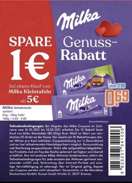 Milka 8x100g Tafel für 4,52 EUR (0,57 EUR/Tafel)