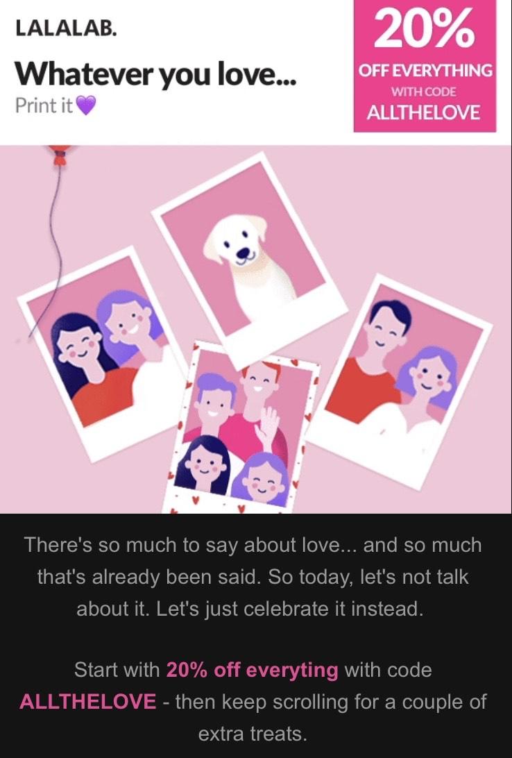 LALALAB. 20% auf alles am Valentinstag