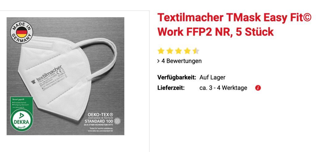 """5x FFP2 Masken """"Made in Germany"""" für 7,95€ bei Netto (ab Montag)"""