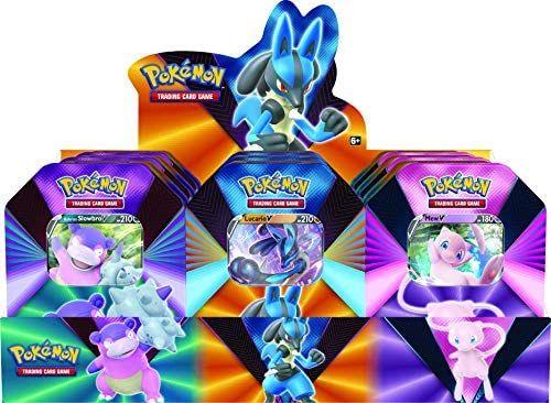 [Prime] Pokémon Frühjahrs-Tin: Pokémon POK80840-D6 TCG: V Forces Tin-Lucario V, Galarian Slowbro V oder Mew V (eine nach Zufall)