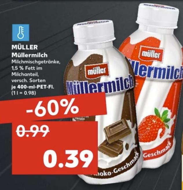 [Regional Kaufland-ehemals Real Filialen ab 18.02] Müllermilch 400ml für 0,39€ • Corny Riegel 0,77€ • Coppenrath&Wiese Goldstücke 0,77€