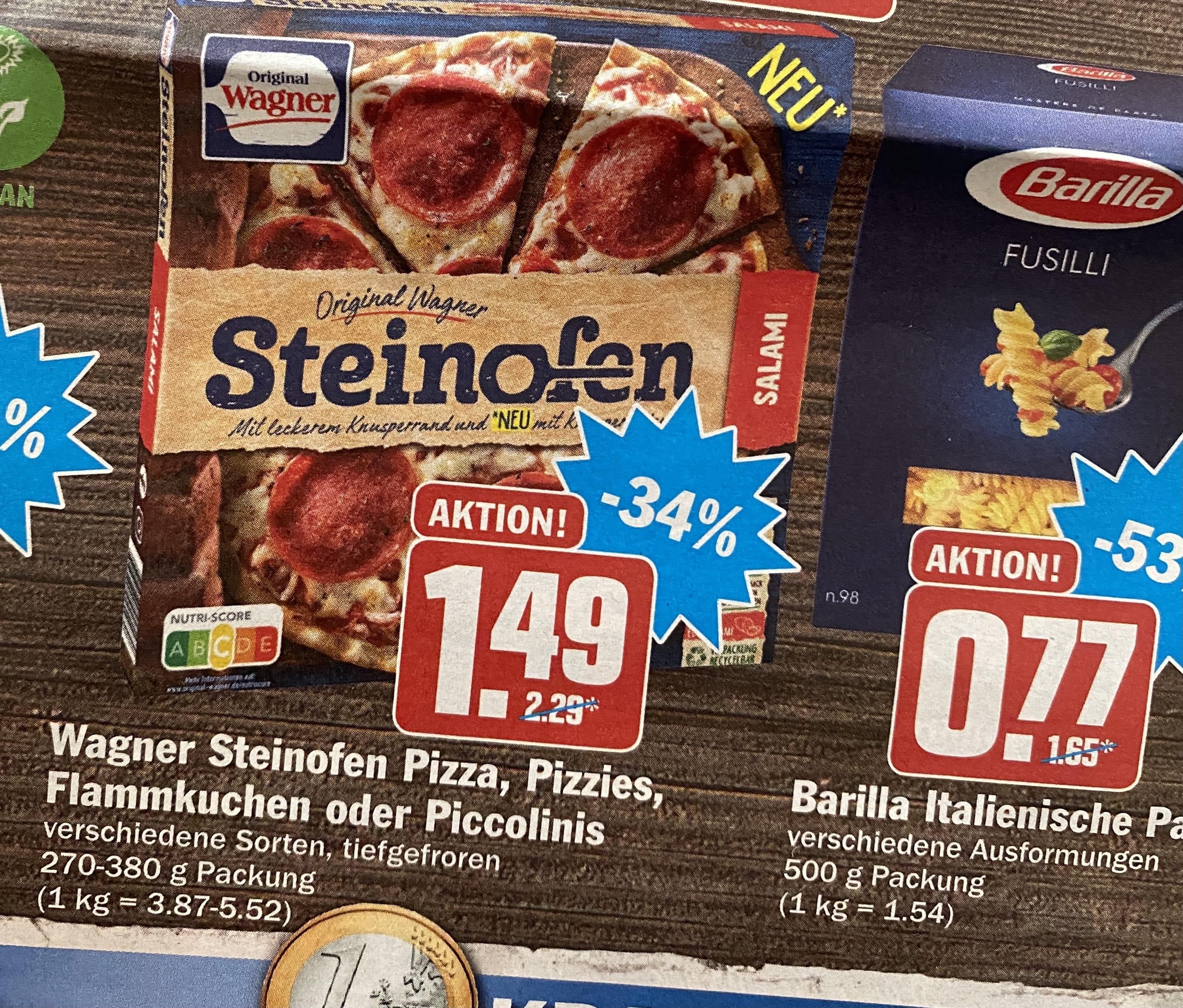 Wagner Steinofen-Pizza für 1,49€ und Barilla-Pasta für 0,77€! (Hit-Markt)