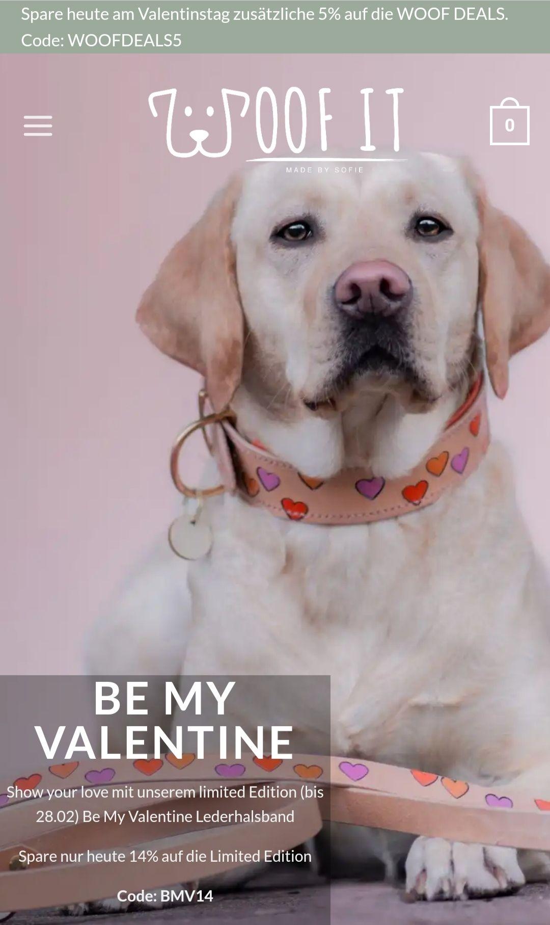 14% auf individuelle Halsbänder & Leinen für Hunde Valentine Limited Edition