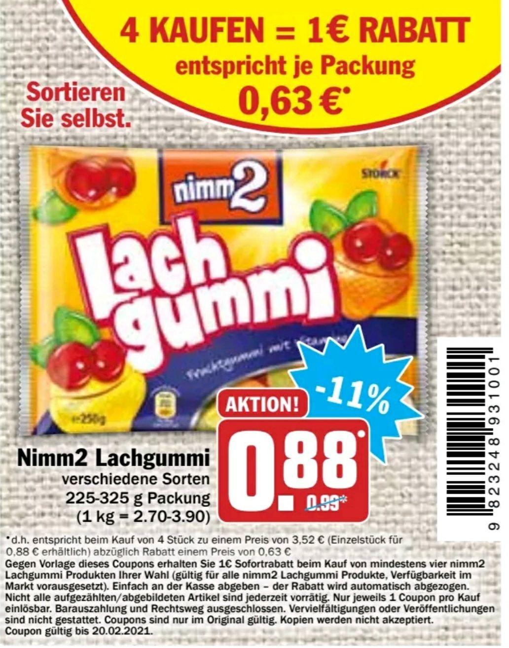 (4 Kaufen und 1€ Rabatt bekommen.) Nimm 2 Lachgummi verschiedene Sorten 225g-325g Packung effektiv für 2.25€ anstatt für 3.25€