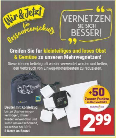 [Marktkauf Minden-Hannover] Mehrwegnetze für Obst/Gemüse mit Klebe Rabatt für 2,69€ (effektiv 1,64€ möglich)