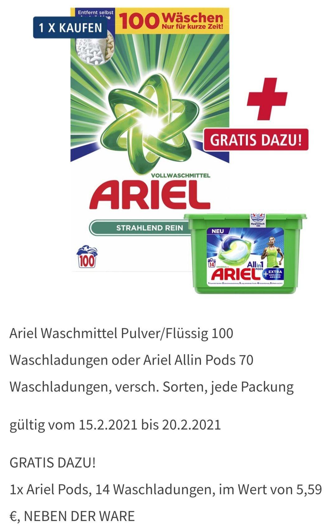 Ariel Waschmittel Pulver/Flüssig 100 Waschladungen oder Ariel Allin Pods 70 Waschladungen, versch. Sorten