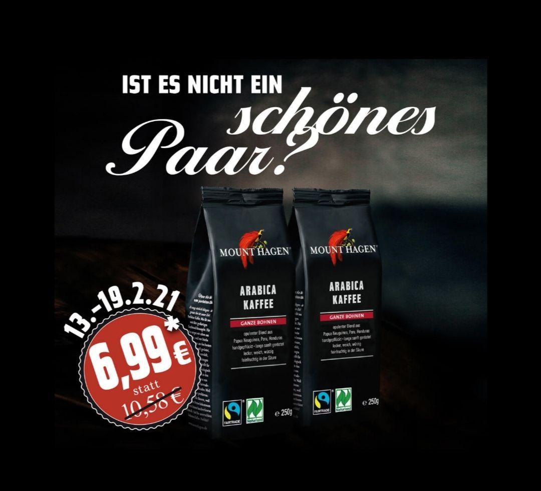 Mount Hagen Arabica-Kaffee Ganze Bohnen 2x 250g inkl. Versandkosten!