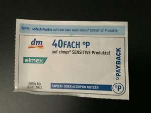 Payback DM Coupon 40 Fach auf elmex Sensitive Produkte