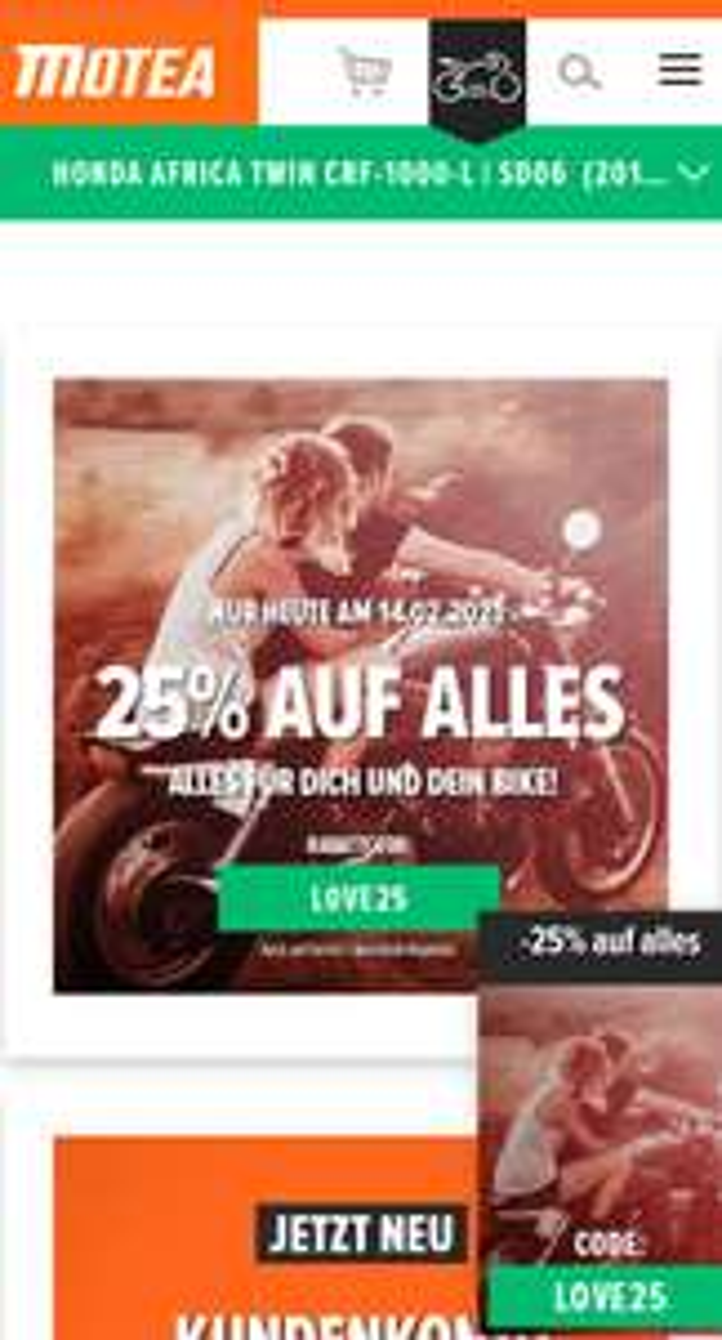 Motea - Motorrad Zubehör - 25% auf alles