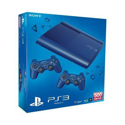 Sony PlayStation 3 - Konsole Super Slim 500 GB blau (inkl. 2 DualShock 3 Wireless Controller blau)