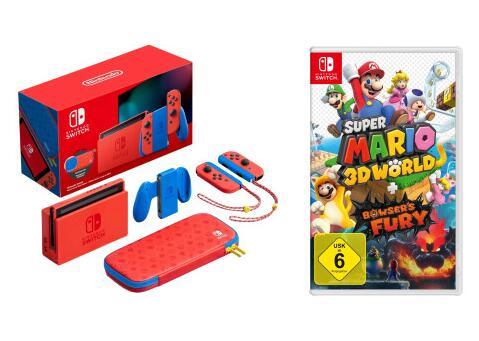 NINTENDO Switch Mario Red & Blue Edition (Limitiert) inklusive Tasche im Mario-Rot und -Blau + Super Mario 3D World + Bowser's Fury