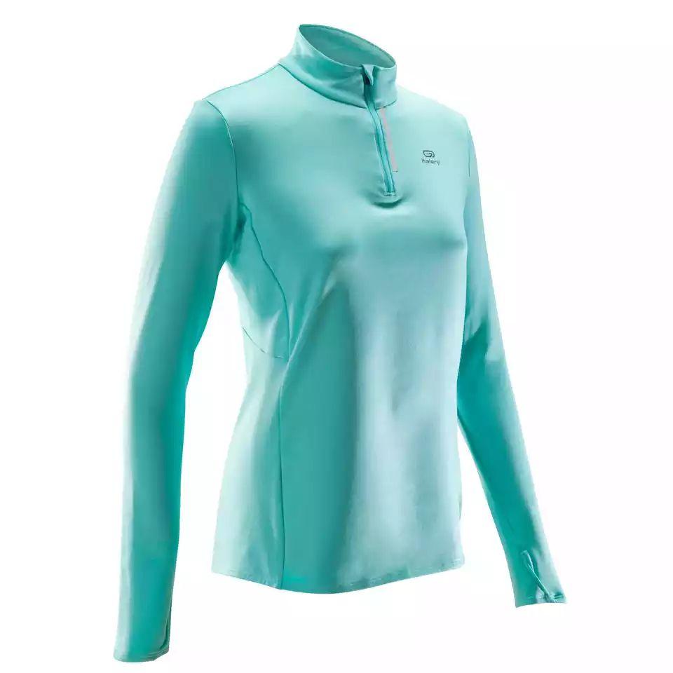 [decathlon.de] Kalenji Damen-Langarmshirt Run, warm, Komforttemperatur 4-7 °C, türkisgrün, Größen 34-40, Ecodesign
