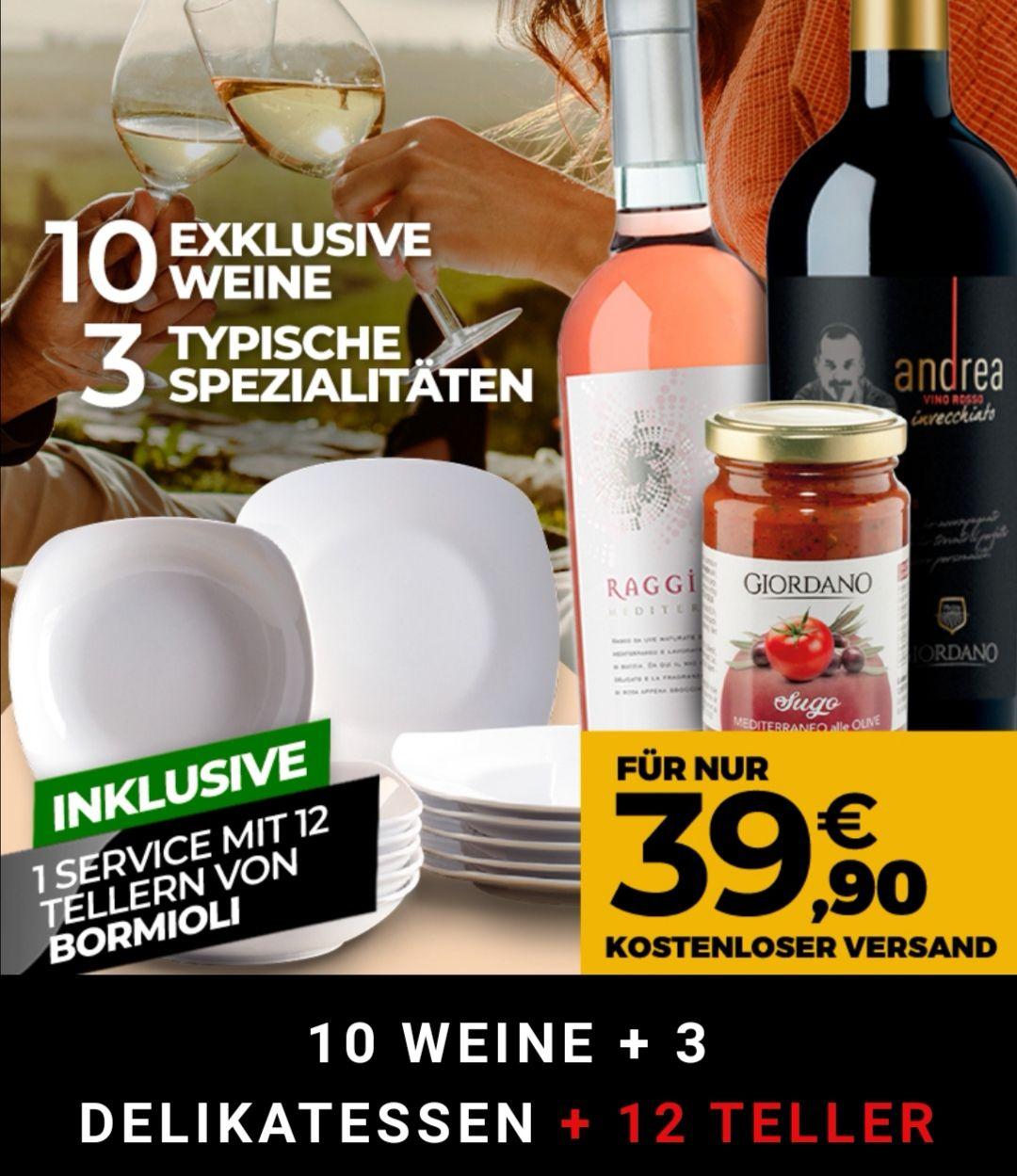 10 Flaschen Wein + 12 Teller + 2x Nudeln + Olivensauce [39,90€ - 7€ Shoop]