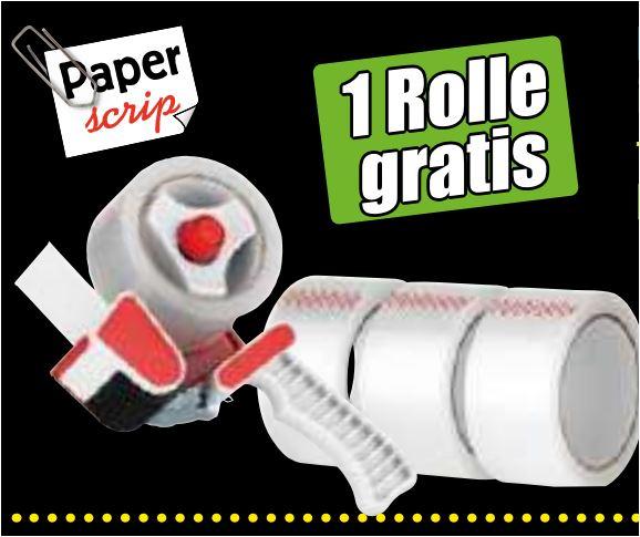 Paketband-Abroller inklusiv 4 Rollen Paketband oder den 6er Pack Paketband in braun, transparent, farbig für jeweils 4,69 Euro [ Norma ]
