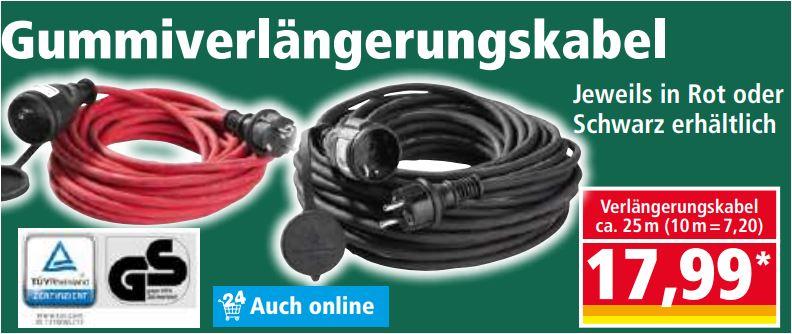 Verlängerungskabel 25m (IP44) schwarz oder rot für 17,99 Euro / 10m (IP44) rot oder schwarz für 7,99 Euro [Norma]