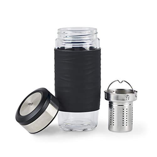 Emsa Tea Mug Teebecher aus doppelwandigem Glas | 400ml | BPA-Frei | 100% dicht | auslaufsicher [Amazon Prime]