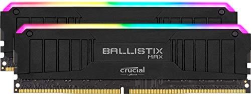 Crucial Ballistix MAX BLM2K16G44C19U4BL RGB, 4400MHz, DDR4, DRAM, Desktop Gaming Speicher Kit, 32GB (16GB x2) CL19, Schwarz