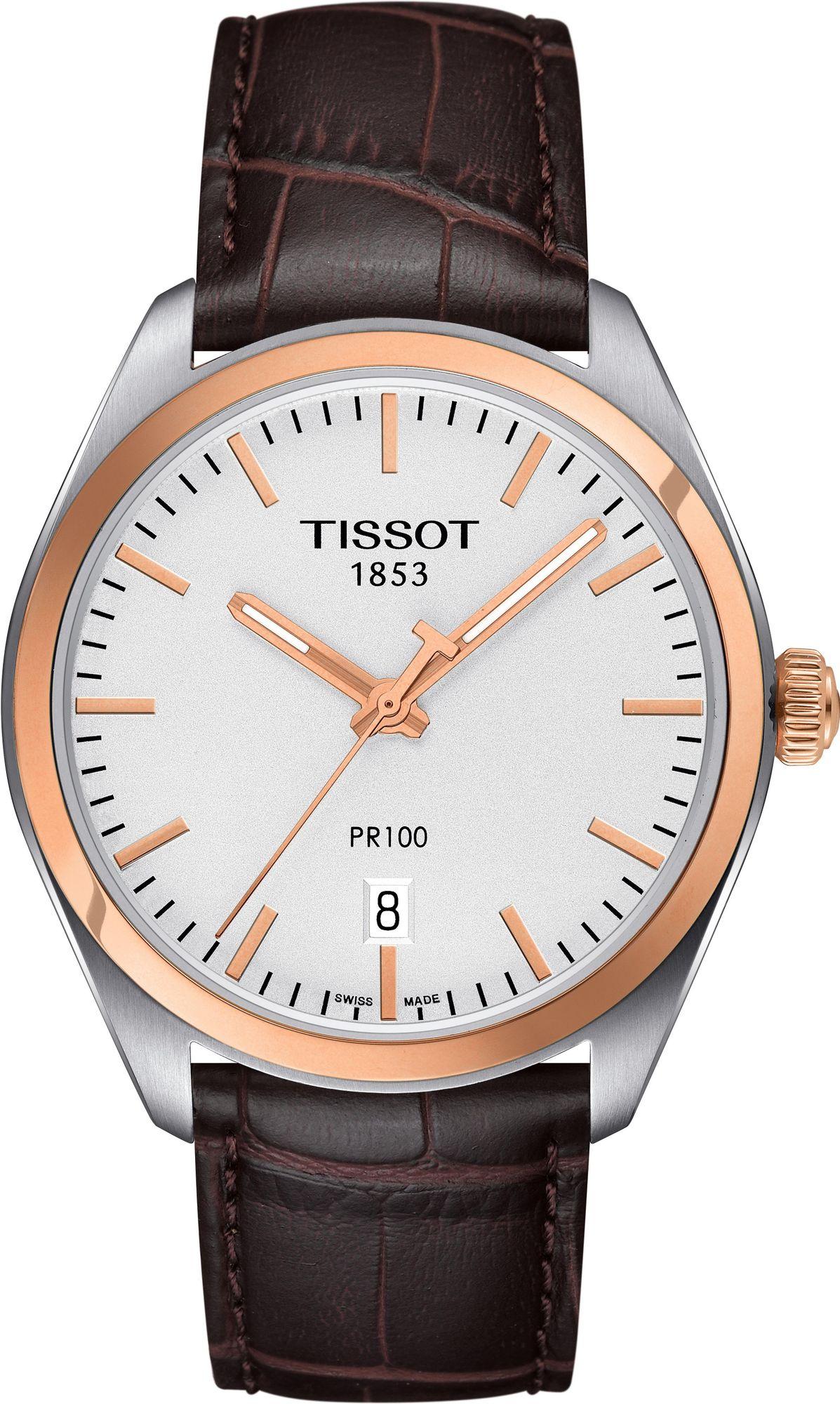 [eBay: ticwatches] Tissot T101.410.26.031.00, PR100, Quarz, Saphirglas, Gehäusedurchmesser: 41 mm, Wasserdicht bis 100 m, Gold/Braun