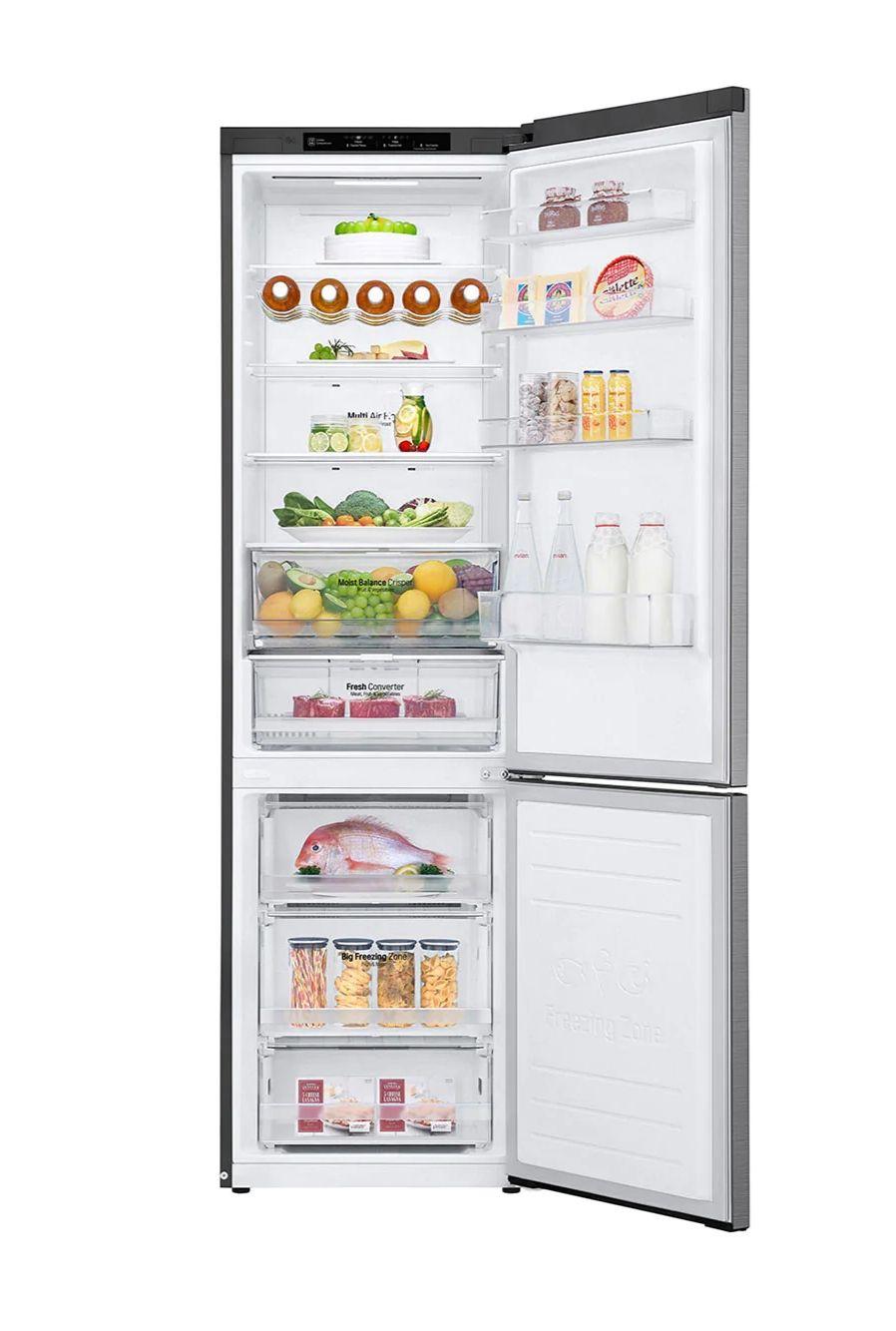 LG GBB62PZGFN Kühlschrank 384l (277l Kühlen, 107l Gefrieren, A+++, 193kWh/Jahr, 36dB, Fleisch+Gemüsefach, Schnellgefrieren, LED, Edelstahl)